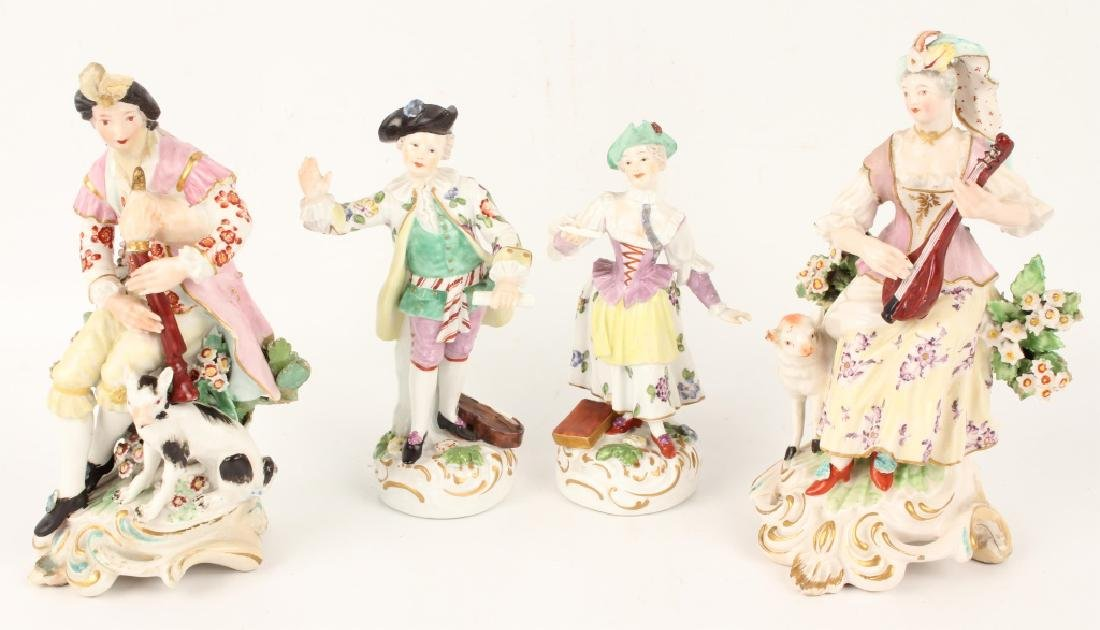 FOUR 20TH CENTURY EUROPEAN PORCELAIN FIGURINES