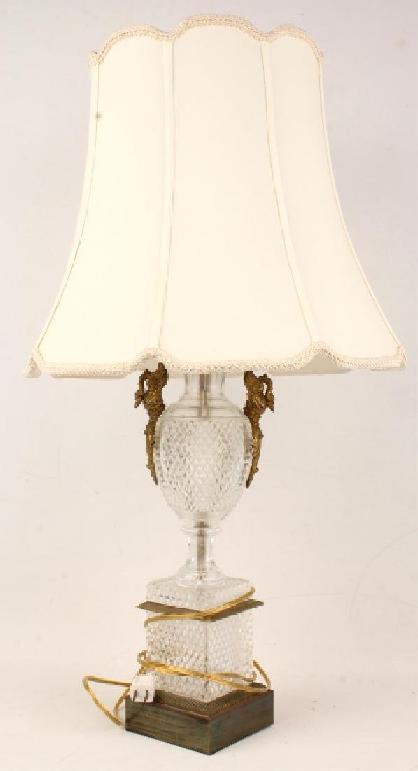 GLASS TABLE LAMP WITH BRASS SWAN ACCENTS