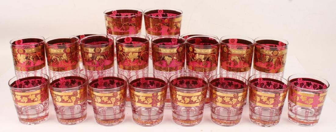 20 PIECES OF CERA GOLDEN GRAPES BURGUNDY GLASS