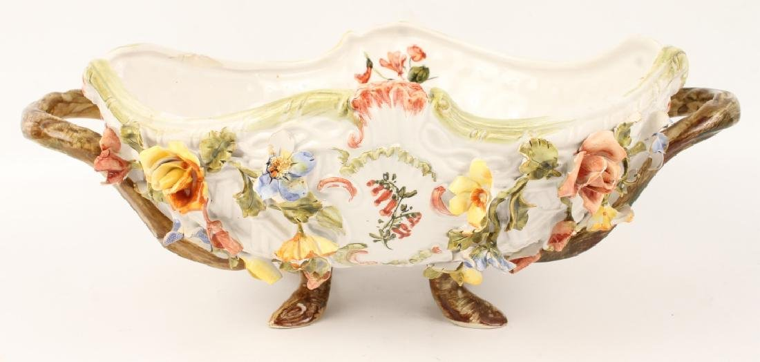 LE NOVE FLORAL FOOTED SERVING BOWL WITH HANDLES