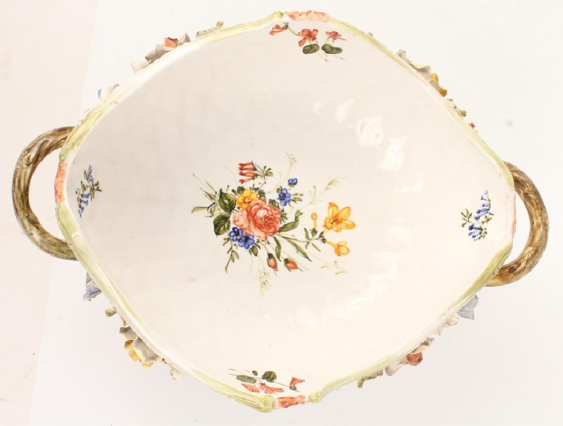 LE NOVE FLORAL FOOTED SERVING BOWL WITH HANDLES - 4