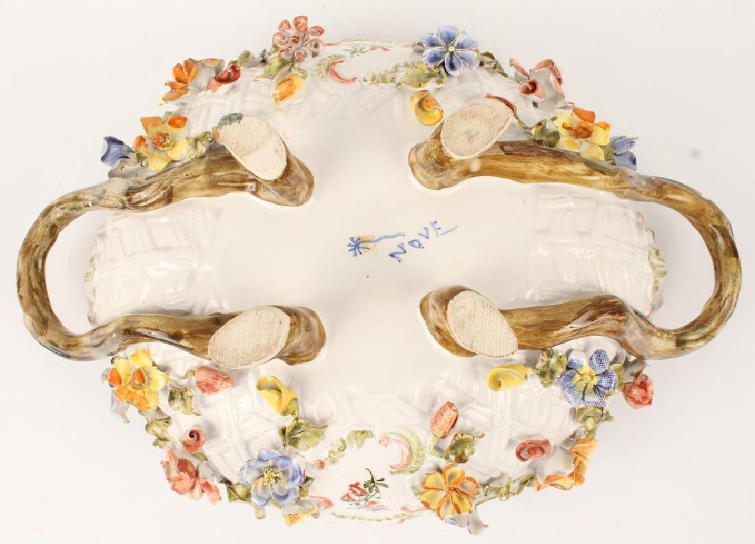 LE NOVE FLORAL FOOTED SERVING BOWL WITH HANDLES - 5