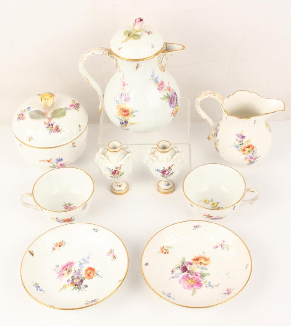 MEISSEN FLORAL PITCHER, TEA CUPS, CREAMER & MORE