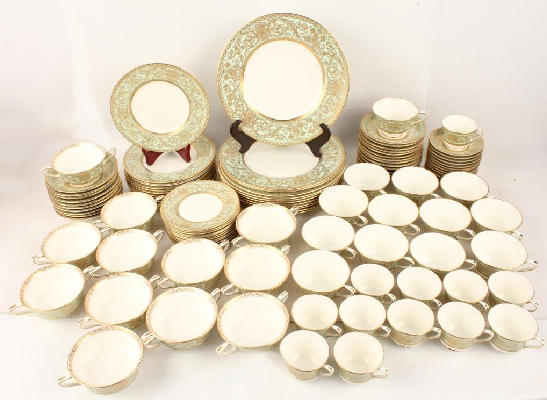 109 PIECE ROYAL WORCESTER EMBASSY LIGHT GREEN SET