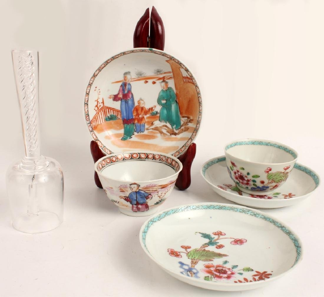 TWO ASIAN TEACUPS MATCHING SAUCERS & CRYSTAL BELL