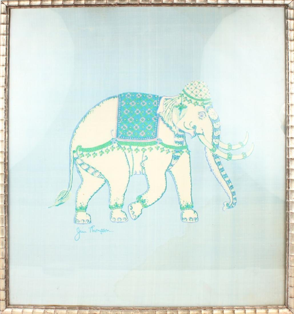 JIM THOMPSON SILK ELEPHANT FRAMED