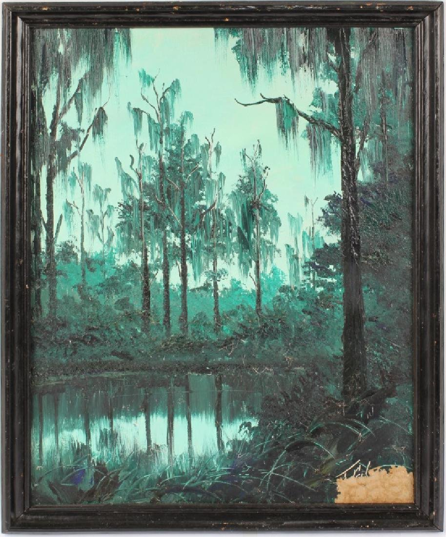 JAMES GIBSON FLORIDA HIGHWAYMEN OIL ON BOARD
