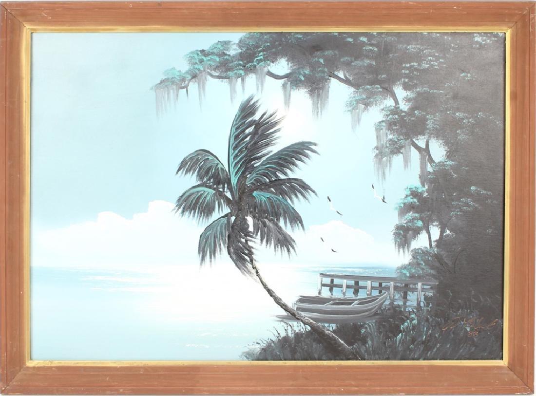 AL BLACK FLORIDA HIGHWAYMEN MOONLIT WETLAND OIL