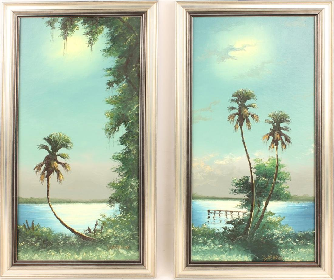 PAIR OF SAM NEWTON FLORIDA HIGHWAYMEN PAINTINGS