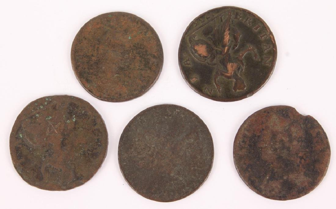 LOT OF 5 EARLY COPPER CENTS