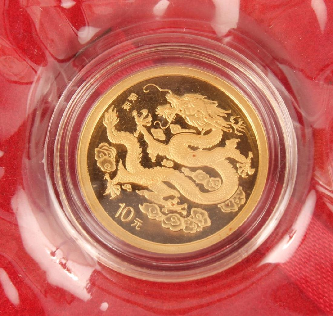 REPUBLIC OF CHINA 2000 GOLD DRAGON 1/10 OUNCE COIN - 3