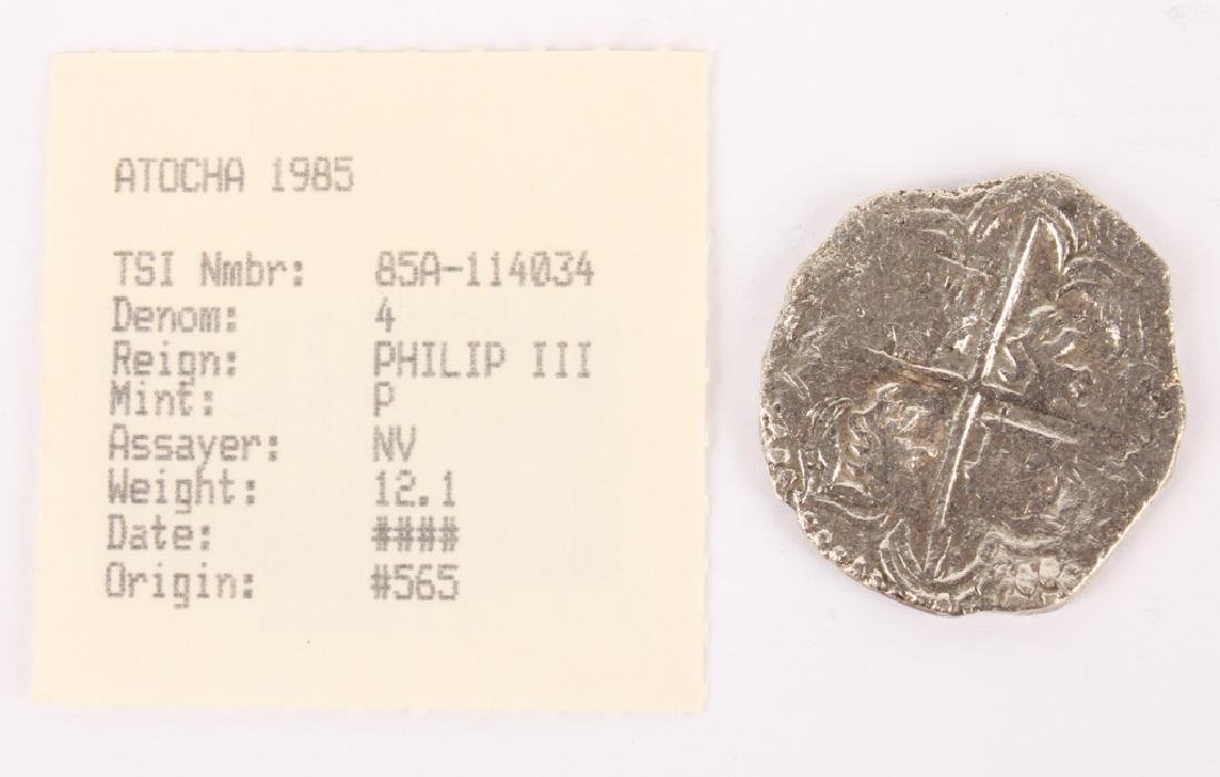 ATOCHA RECOVERED SPANISH SILVER COIN- 4 REALE