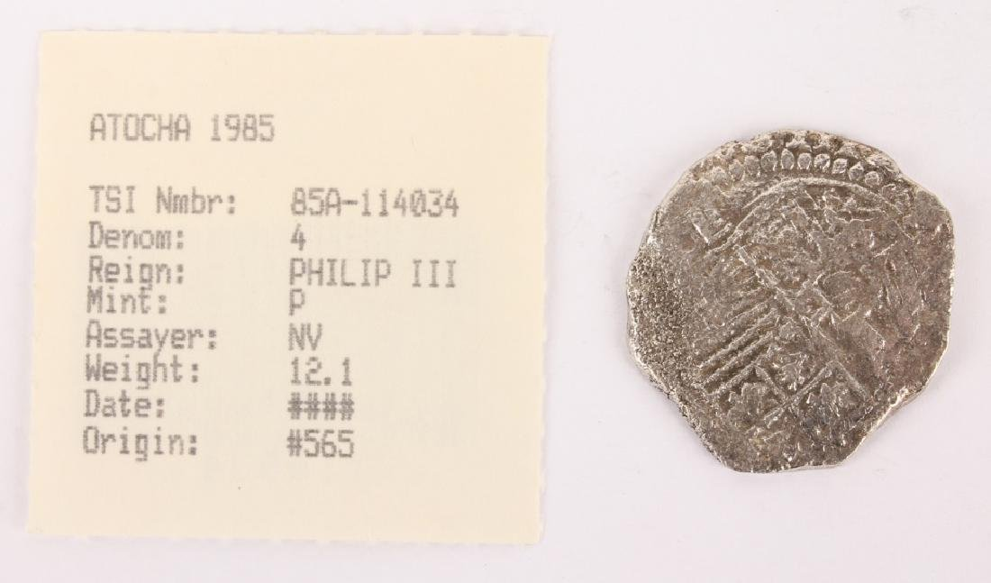 ATOCHA RECOVERED SPANISH SILVER COIN- 4 REALE - 2