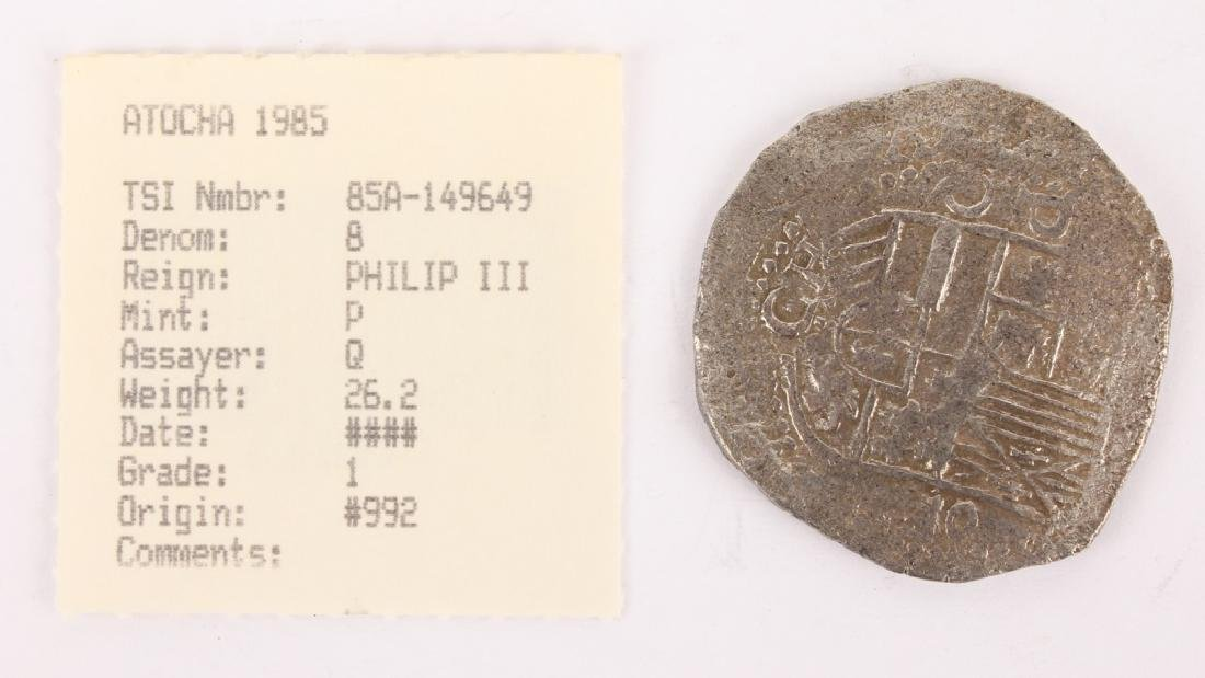 ATOCHA RECOVERED SPANISH SILVER COIN- 8 REALE - 2