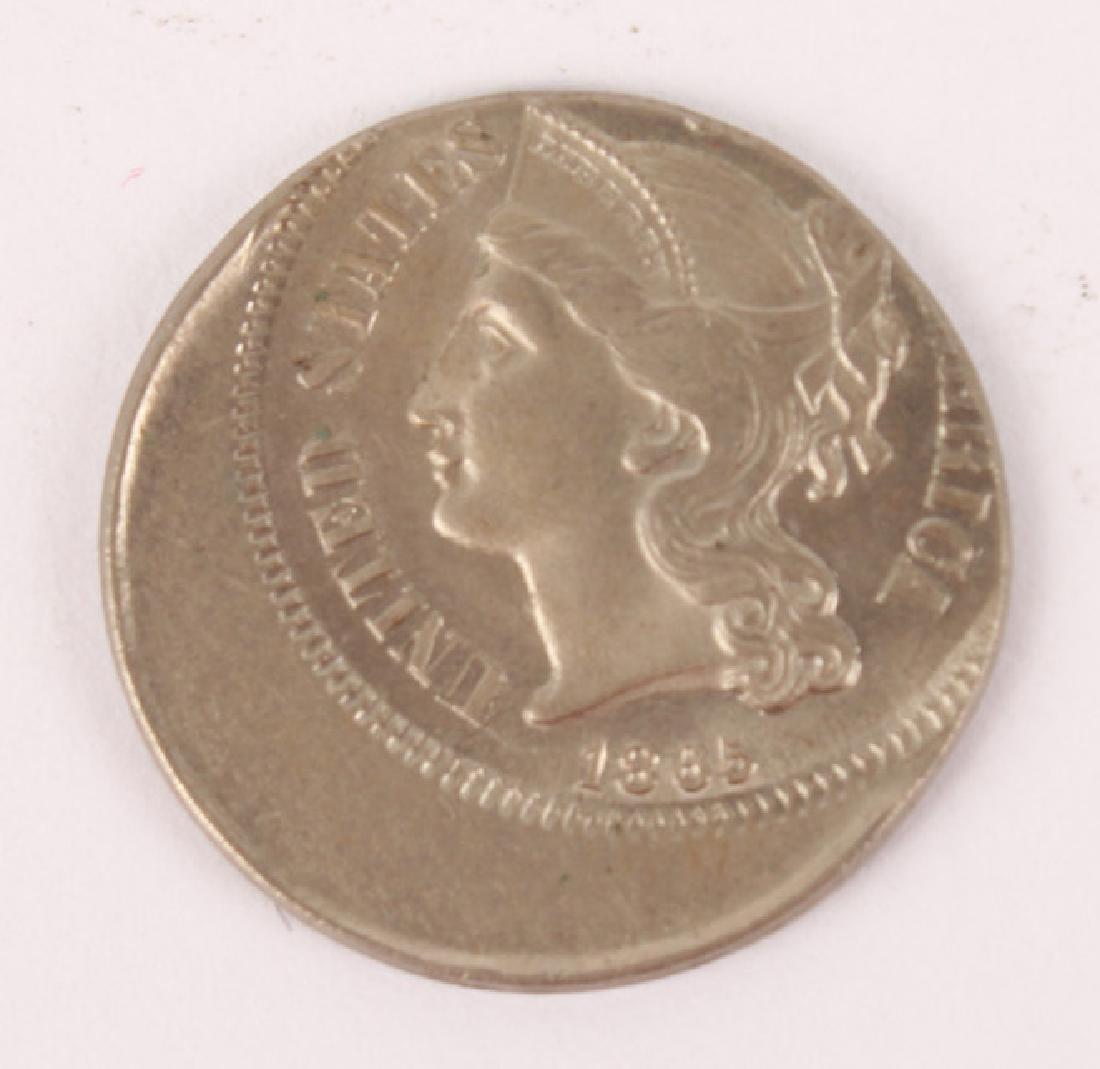 1865 NICKEL THREE CENT PIECE ERROR OFF CENTER COIN