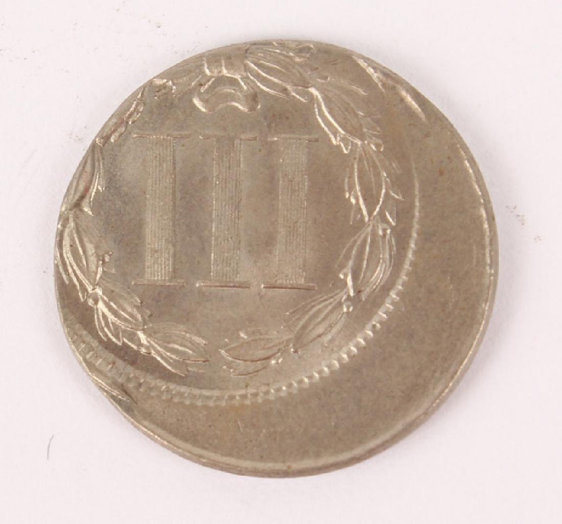 1865 NICKEL THREE CENT PIECE ERROR OFF CENTER COIN - 2