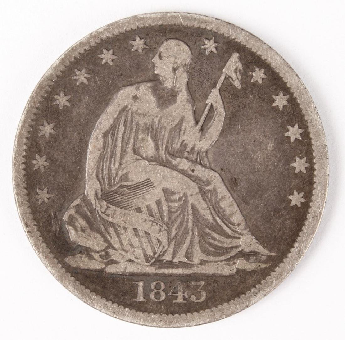 1843 O UNITED STATES SEATED LIBERTY HALF DOLLAR