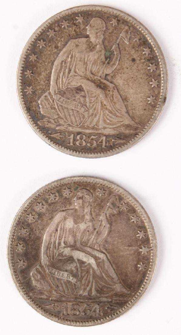 TWO 1854 UNITED STATES SEATED LIBERTY HALF DOLLAR