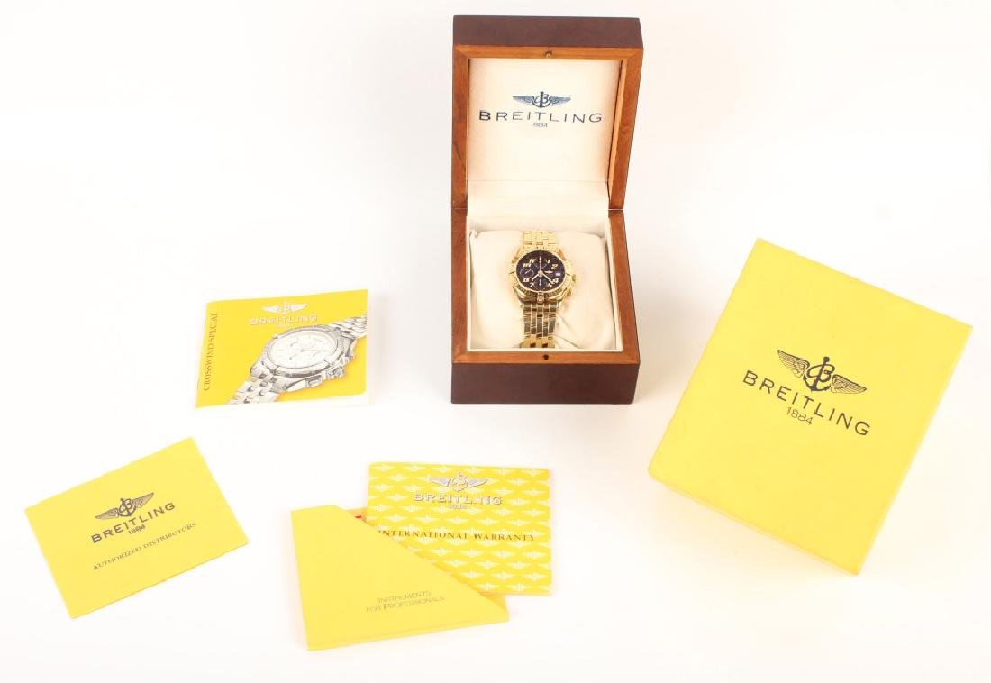 MENS BREITLING CHRONOMAT AUTOMATIC 18K YELLOW GOLD - 10