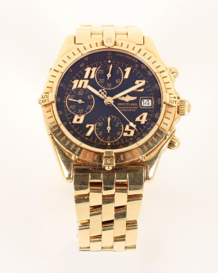 MENS BREITLING CHRONOMAT AUTOMATIC 18K YELLOW GOLD