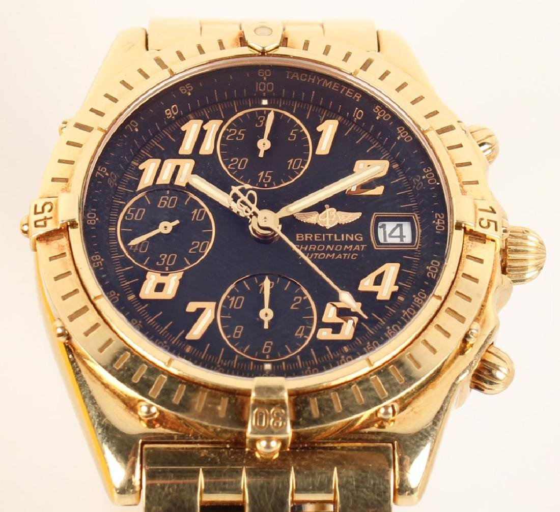 MENS BREITLING CHRONOMAT AUTOMATIC 18K YELLOW GOLD - 3
