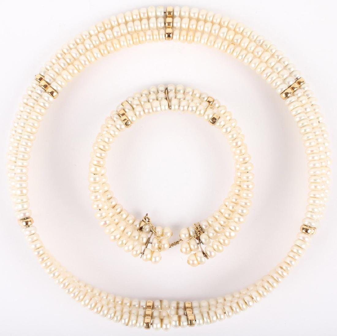 14K YELLOW GOLD PEARL CHOKER NECKLACE & BRACELET