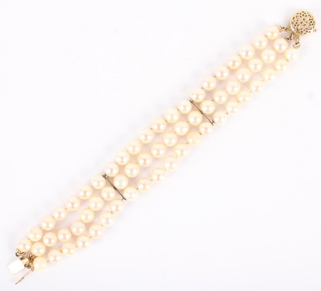 14K YELLOW GOLD THREE STRAND PEARL BRACELET