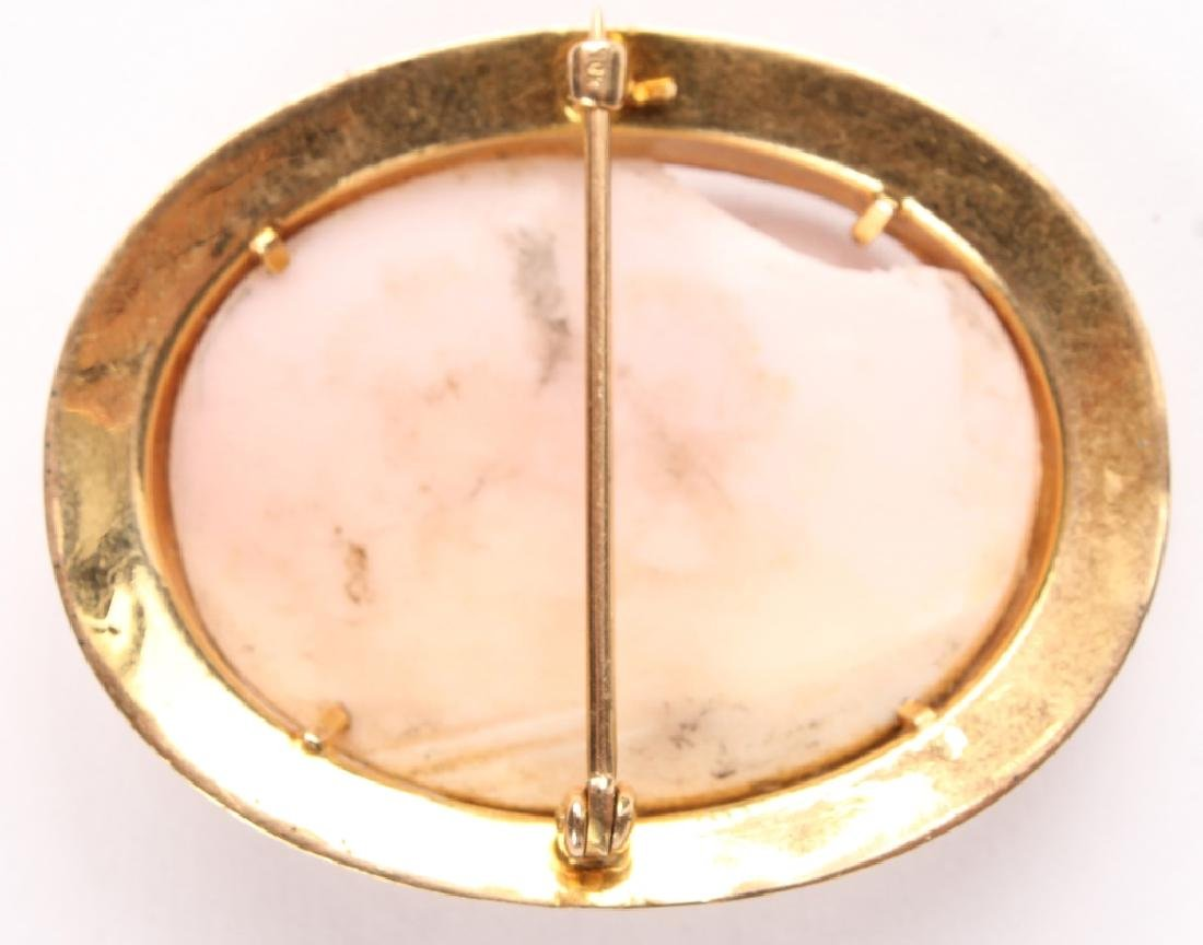 ANTIQUE LADIES 10K YELLOW GOLD CAMEO BROOCH PIN - 2