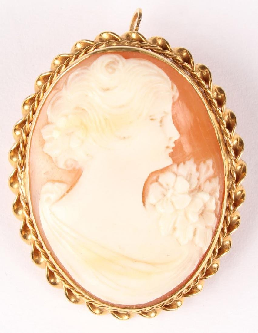 ANTIQUE LADIES 10K YELLOW GOLD CAMEO BROOCH PIN