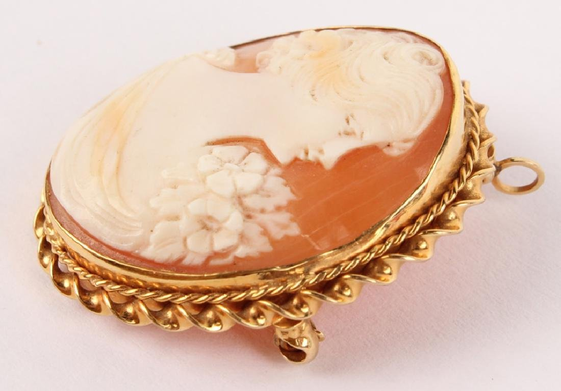 ANTIQUE LADIES 10K YELLOW GOLD CAMEO BROOCH PIN - 3