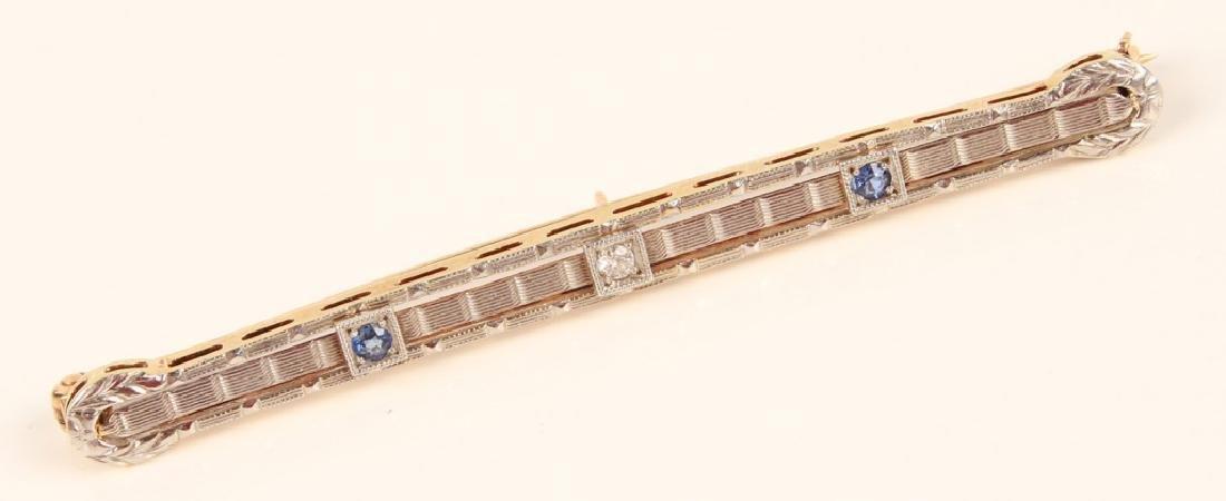14K GOLD SAPPHIRE & DIAMOND ART DECO STYLE BROOCH