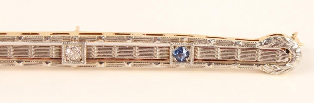 14K GOLD SAPPHIRE & DIAMOND ART DECO STYLE BROOCH - 3