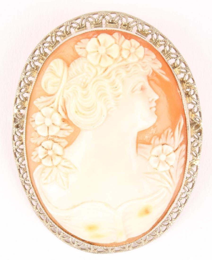LADIES 14K WHITE GOLD FLIGREE CAMEO BROOCH