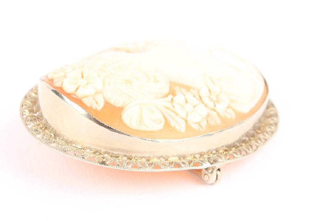 LADIES 14K WHITE GOLD FLIGREE CAMEO BROOCH - 3