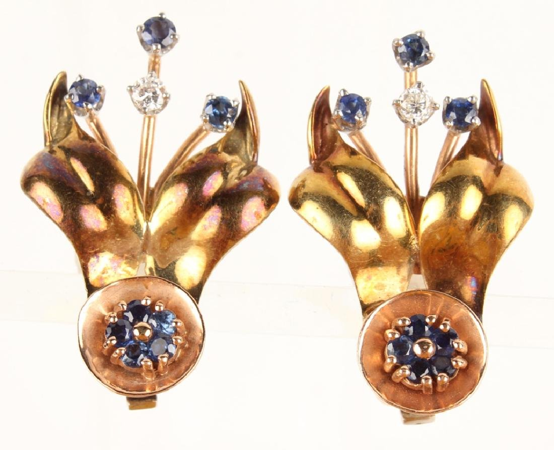 14K TWO TONE DIAMOND & SAPPHIRE ART DECO EARRINGS
