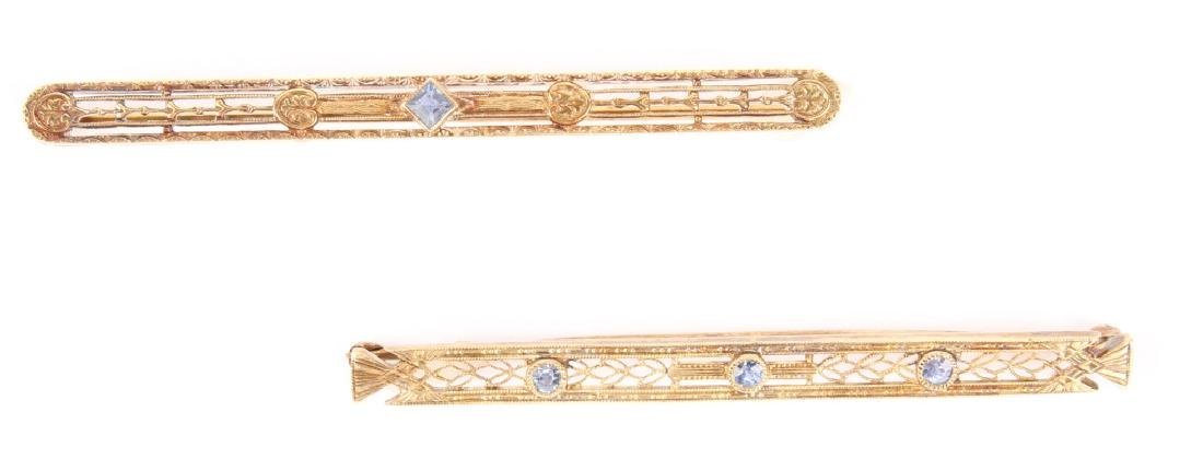 TWO 14K YELLOW GOLD SAPPHIRE BROOCH PINS