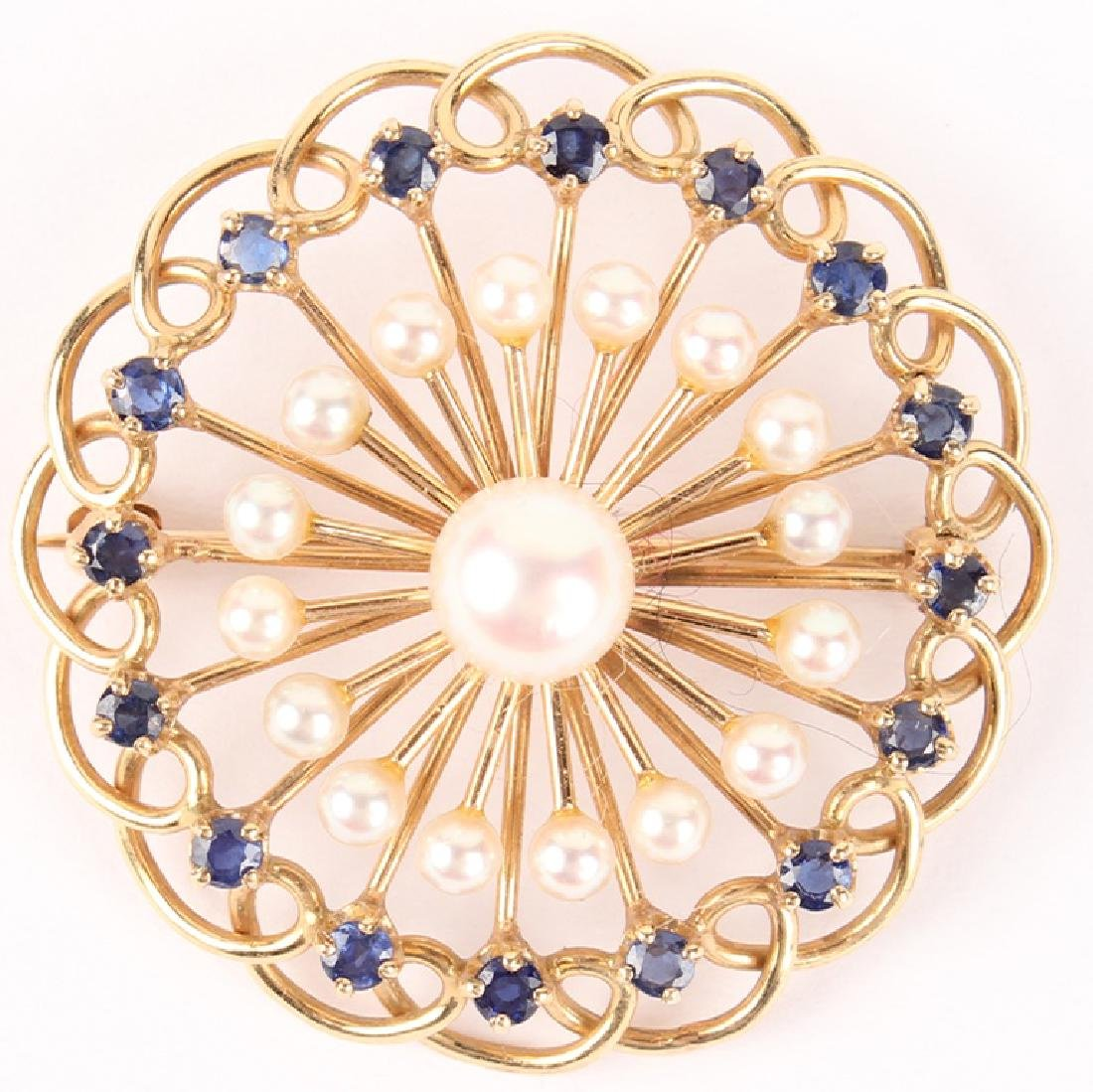 LADIES 14K YELLOW GOLD SAPPHIRE PEARL BROOCH