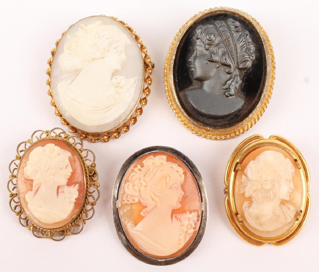 5 LADIES GOLD FILLED & SILVER CAMEO BROOCH PINS