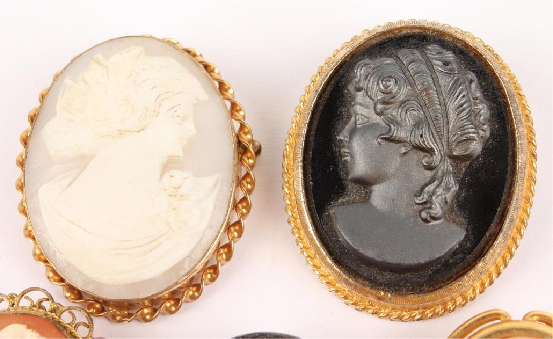 5 LADIES GOLD FILLED & SILVER CAMEO BROOCH PINS - 2