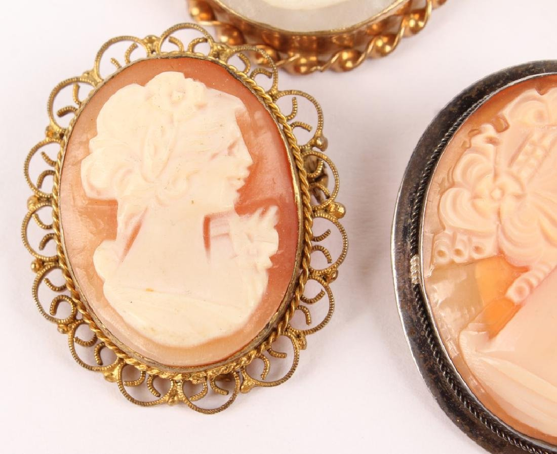 5 LADIES GOLD FILLED & SILVER CAMEO BROOCH PINS - 3