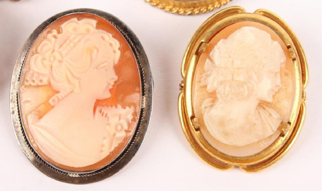 5 LADIES GOLD FILLED & SILVER CAMEO BROOCH PINS - 4