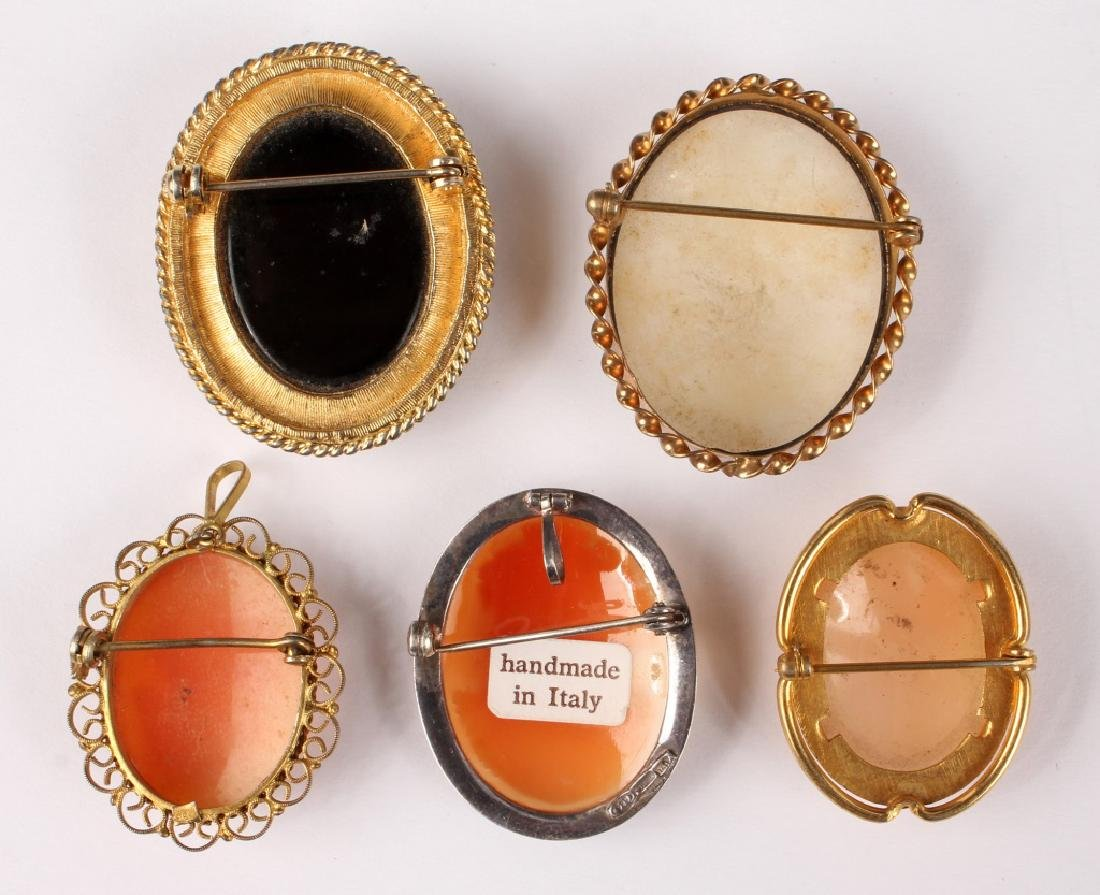 5 LADIES GOLD FILLED & SILVER CAMEO BROOCH PINS - 5