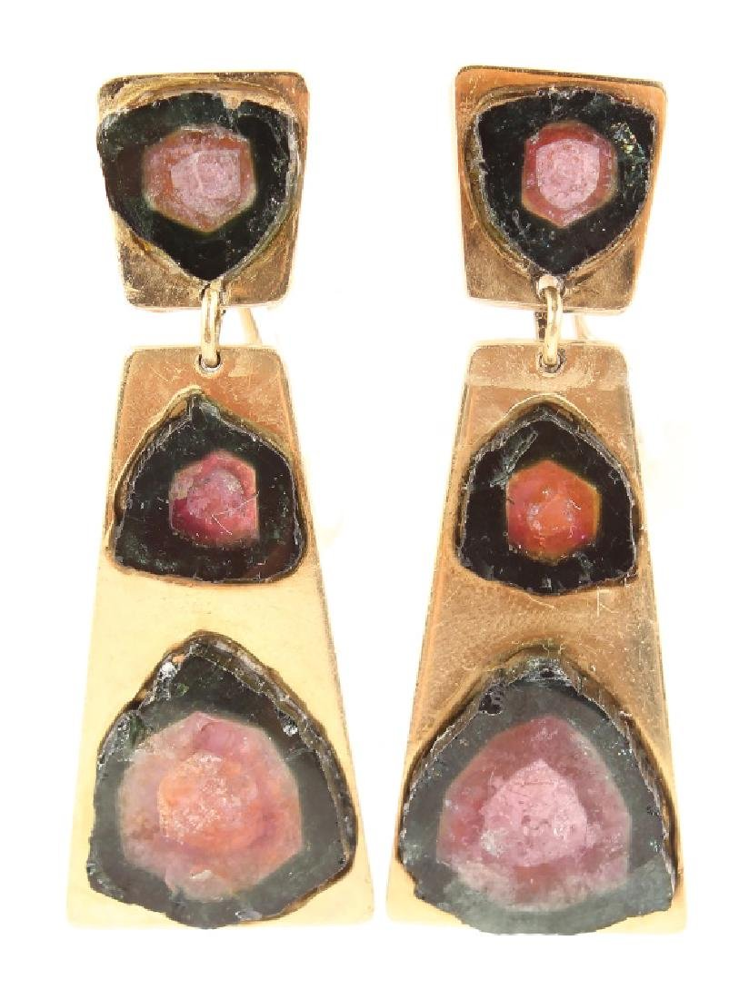 THIERRY MUGGLER 18K GOLD EARRINGS WITH TOURMALINE