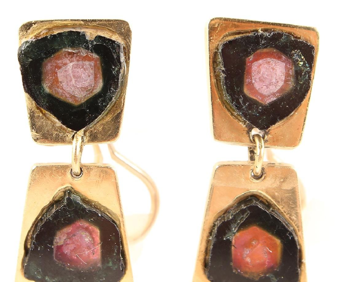 THIERRY MUGGLER 18K GOLD EARRINGS WITH TOURMALINE - 3