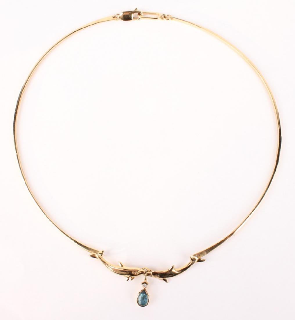 LADIES 14K YELLOW GOLD DOLPHIN NECKLACE