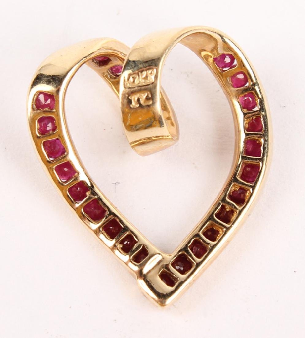 LADIES 10K YELLOW GOLD RUBY HEART PENDANT - 2