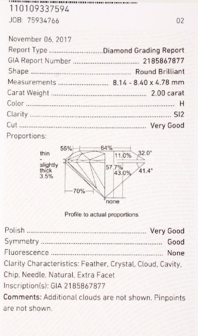 ROUND BRILLIANT CUT 2.00 CARAT GIA H SI2 DIAMOND - 8