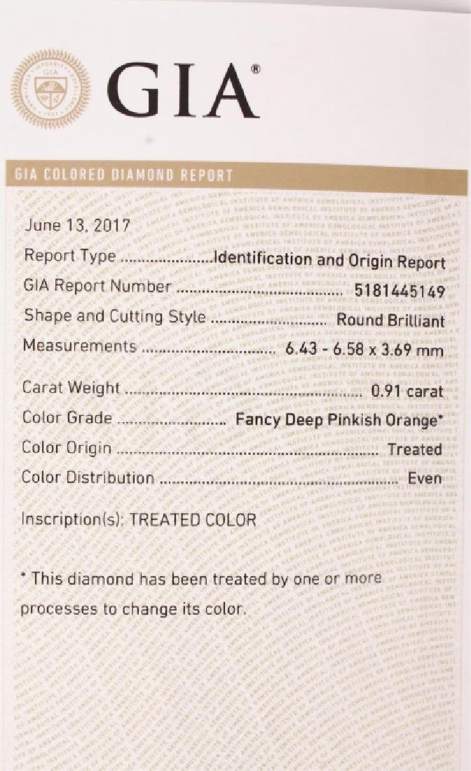 GIA CERTIFIED .91 CARAT VS2 FANCY PINK DIAMOND - 5