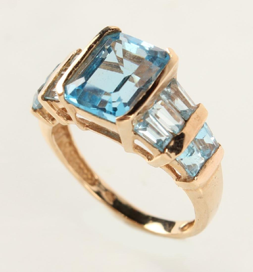 LADIES 10K YELLOW GOLD BLUE TOPAZ FASHION RING - 2