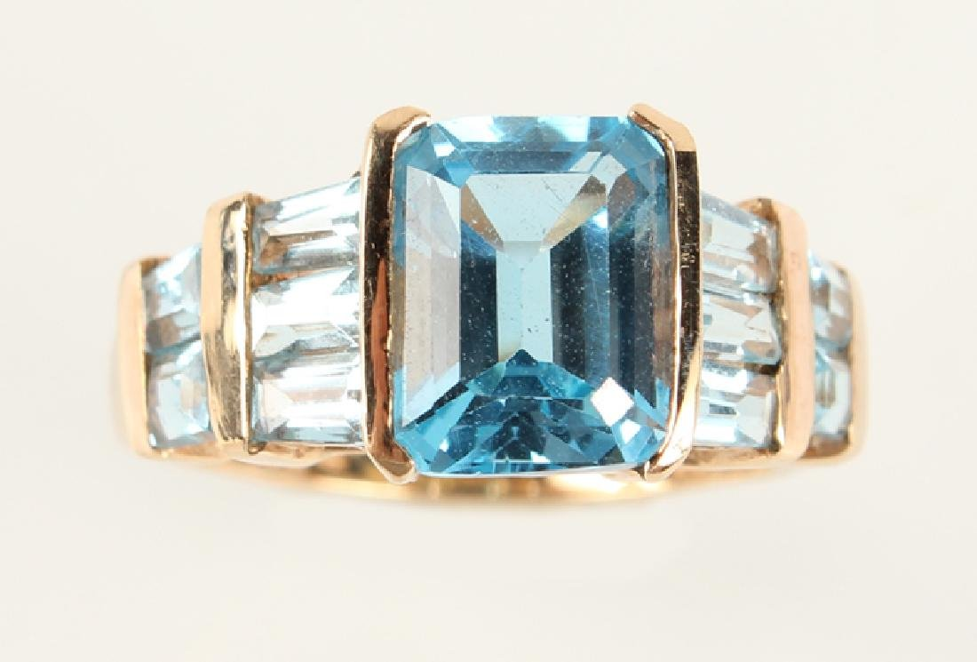 LADIES 10K YELLOW GOLD BLUE TOPAZ FASHION RING - 3